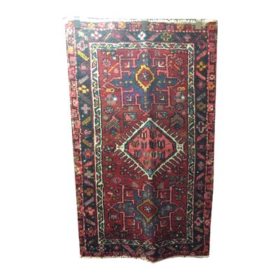One-of-a-Kind Gerrell Hand-Knotted Wool Red/Blue Area Rug