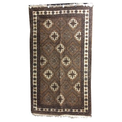 One-of-a-Kind Pettry Tribal Hand-Knotted Wool Brown Area Rug