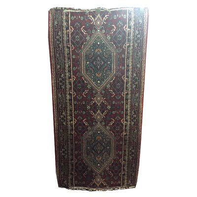 One-of-a-Kind Mahan Indo Persian Hand-Knotted Wool Red/Blue Area Rug