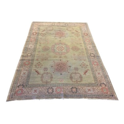 One-of-a-Kind Lengade Hand-Knotted Wool Green/Rose Area Rug