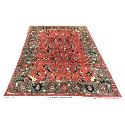 One-of-a-Kind Drummaul Hand-Knotted Wool Rose/Green Area Rug