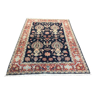 One-of-a-Kind Lutz Hand-Knotted Wool Blue/Red Rust Area Rug