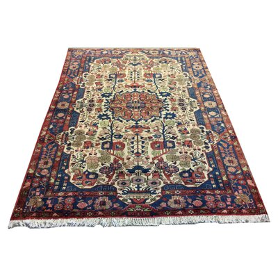 One-of-a-Kind Yandel Hand-Knotted Wool Red/Blue Area Rug