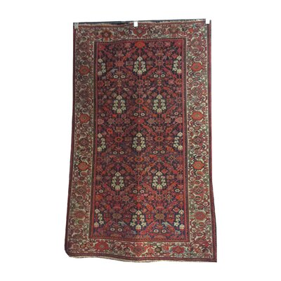 One-of-a-Kind Magruder Antique Mayaler Hand-Knotted Wool Red/Navy Blue Rug