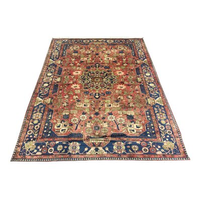 One-of-a-Kind Yashvi Hand-Knotted Wool Red/Blue Area Rug