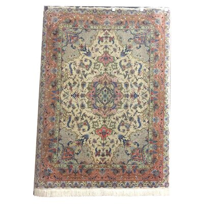 One-of-a-Kind Lutz Hand-Knotted Wool/Silk Ivory/Pink Area Rug