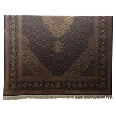 One-of-a-Kind Lutz Hand-Knotted Wool/Silk Black/Brown Area Rug
