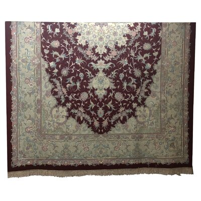 One-of-a-Kind Lutz Hand-Knotted Wool/Silk Red Area Rug