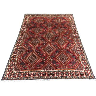 One-of-a-Kind Duddleston Afghan Tribal Hand-Knotted Wool Red/Blue Area Rug