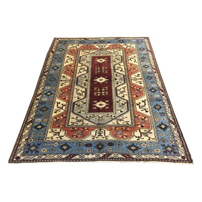 One-of-a-Kind Yip Afghan Tribal Terracotta Hand-Knotted Wool Red/Blue Area Rug