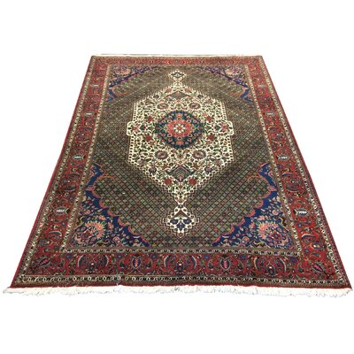 One-of-a-Kind Mahar Baktarai Hand-Knotted Wool Red/Blue Area Rug