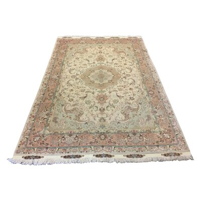 One-of-a-Kind Lutz Hand-Knotted Ivory/Pink Area Rug
