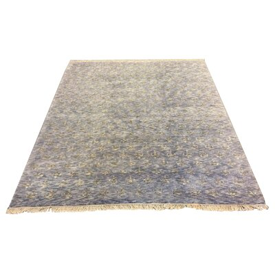 One-of-a-Kind Crumley Hand-Knotted Wool Blue Area Rug