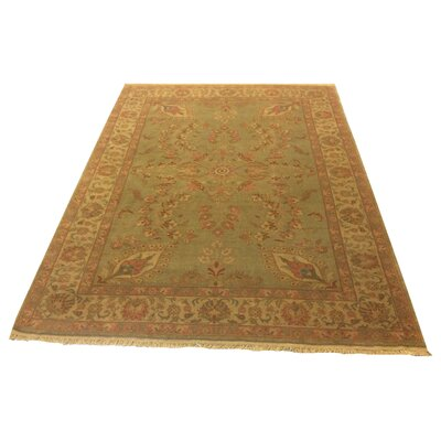 One-of-a-Kind Lybarger Hand-Knotted Wool Green Area Rug