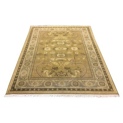 One-of-a-Kind Drumroan Hand-Knotted Wool Green Area Rug
