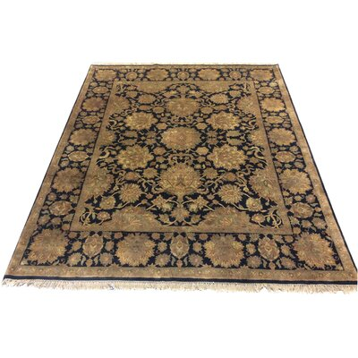 One-of-a-Kind Lybarger Hand-Knotted Wool Black/Beige Area Rug