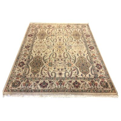 One-of-a-Kind Lybarger Hand-Knotted Wool Ivory/Brown Area Rug