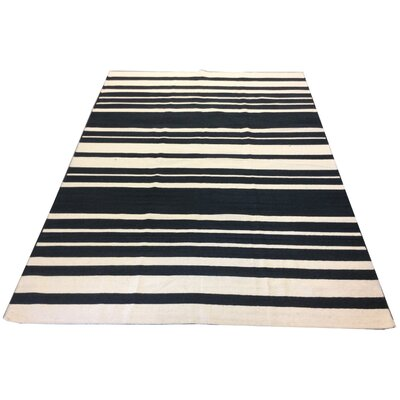 One-of-a-Kind Masten Flat Weave Hand-Knotted Wool Black/White Area Rug