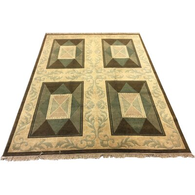 One-of-a-Kind Bigler Hand-Knotted Wool Green Area Rug