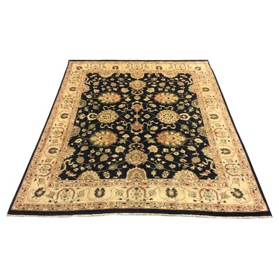One-of-a-Kind Luzerne Hand-Knotted Black Area Rug