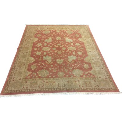 One-of-a-Kind Luzerne Hand-Knotted Wool Terracotta/Green Area Rug