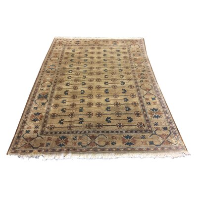 One-of-a-Kind Luzerne Hand-Knotted Wool Taupe/Blue Area Rug