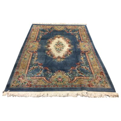 One-of-a-Kind Lykins Hand-Knotted Wool Blue/Ivory Area Rug