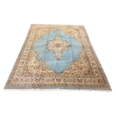 One-of-a-Kind Mahlum Hand-Knotted Wool Blue Ivory Area Rug