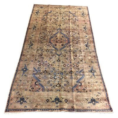 One-of-a-Kind Mahn Vintage Persian Tribal Neutral Hand-Knotted Wool Gray/Blue Area Rug