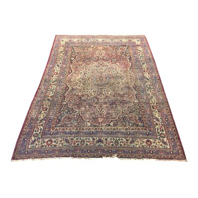 One-of-a-Kind Mahr Antique Kerman Hand-Knotted Red Area Rug