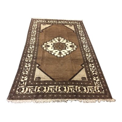One-of-a-Kind Zahoruiko Afghan Tribal Hand-Knotted Wool Brown Area Rug
