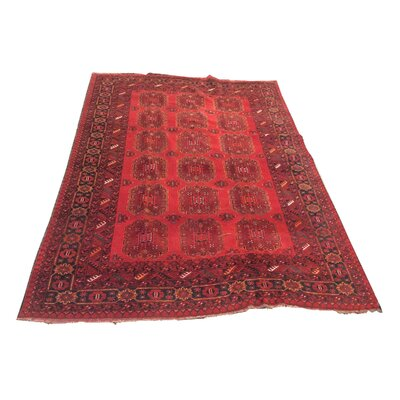 One-of-a-Kind Zergerling Afghan Tribal Hand-Knotted Wool Red Area Rug