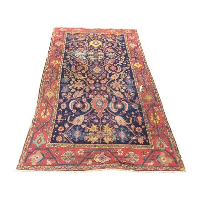 One-of-a-Kind Iglesias Antique Persian Tribal Hand-Knotted Navy Blue/Red Area Rug