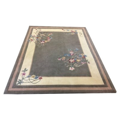 One-of-a-Kind Drumroan Hand Tufted Wool Green/Ivory Area Rug