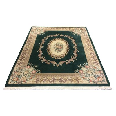 One-of-a-Kind Lykins Hand-Knotted Wool Green/Beige Area Rug