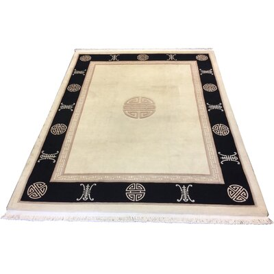One-of-a-Kind Ikeda Chinese Peking Art Deco Hand-Knotted Wool Ivory/Black Area Rug