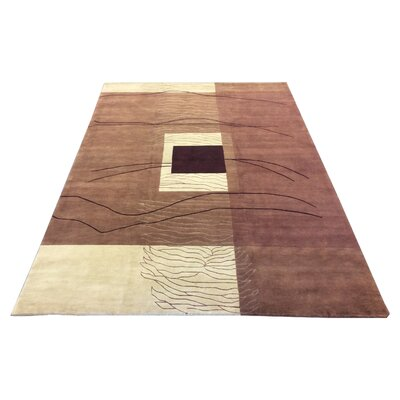 One-of-a-Kind Claussen Hand-Knotted Wool/Silk Wool Brown/Ivory Area Rug