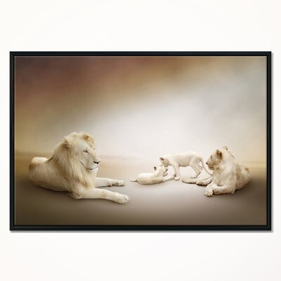 'White Lion Family' Framed Graphic Art Print on Wrapped Canvas ERNH9032 46735351