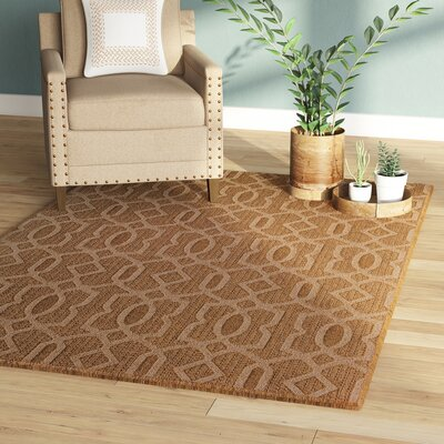 Annica Intertwined Fretwork Beige Indoor/Outdoor Area Rug Rug Size: 53 x 77