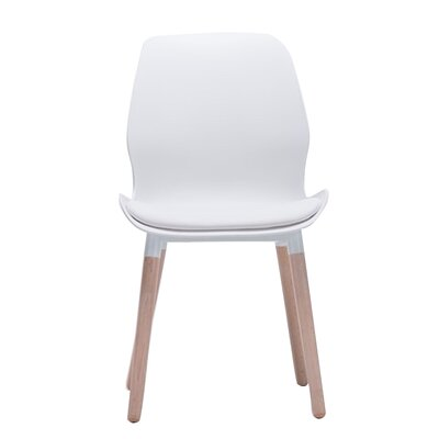 Ashbrook Modern Cushioned Solid Wood Dining Chair Color: White