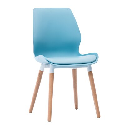 Ashbrook Modern Cushioned Solid Wood Dining Chair Color: Blue