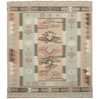 Clairsville Hand-Woven Wool Khaki/Light Blue Area Rug
