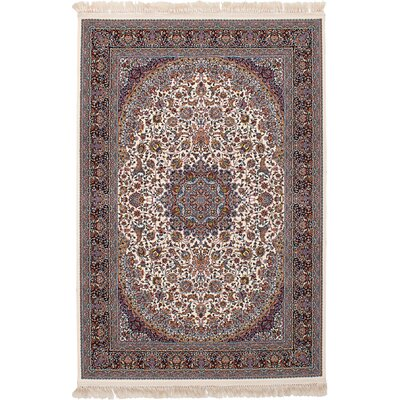 Hudgins Qom Cream/Brown Area Rug Rug Size: Rectangle 67 x 910