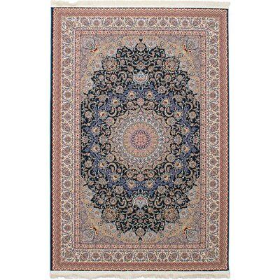 Hudgins Mashad Navy/Brown Area Rug Rug Size: Rectangle 411 x 75