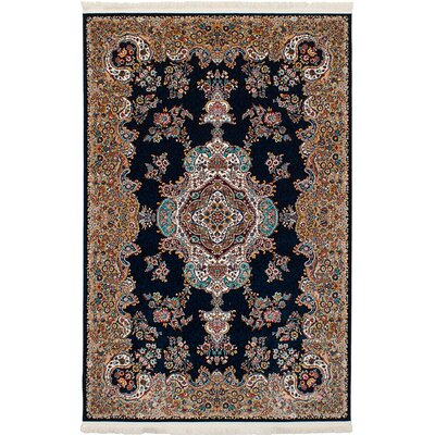 Hudgins Tabriz Dark Navy/Brown Area Rug Rug Size: Rectangle 411 x 75