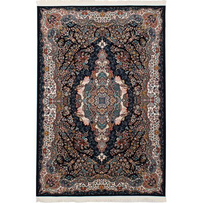 Hudgins Tabriz Dark Navy/Brown Area Rug Rug Size: Rectangle 67 x 910