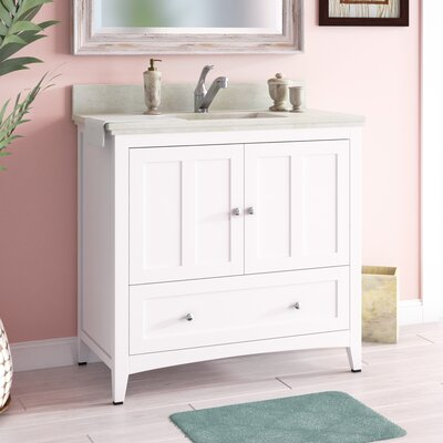 Artic Modern 36 Single Bathroom Vanity Set Base Finish: Walnut, Sink Finish: White, Faucet Mount: Single Hole