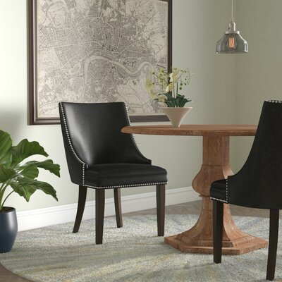 Zeno Upholstered Dining Chair Color: Black