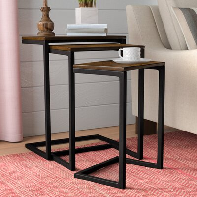 Zenia 3 Piece Nesting Tables Color: Chestnut / Textured Black