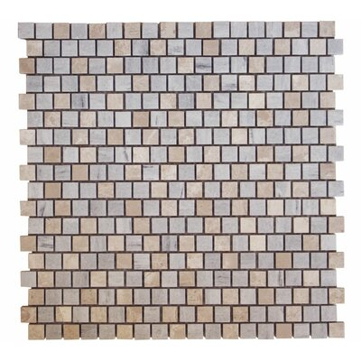 Offset 0.63 x 0.63 Marble Mosaic Tile in Bluette